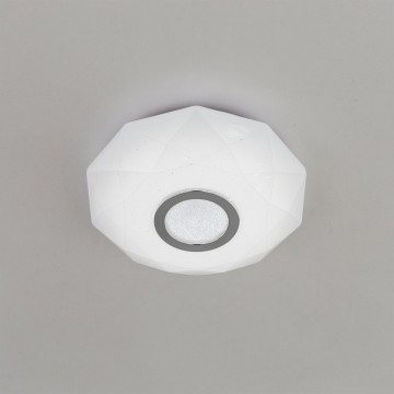 Потолочный светодиодный светильник Citilux Диамант CL71310, IP44, LED 12W 3000K 800lm, белый, хром, пластик - миниатюра 3