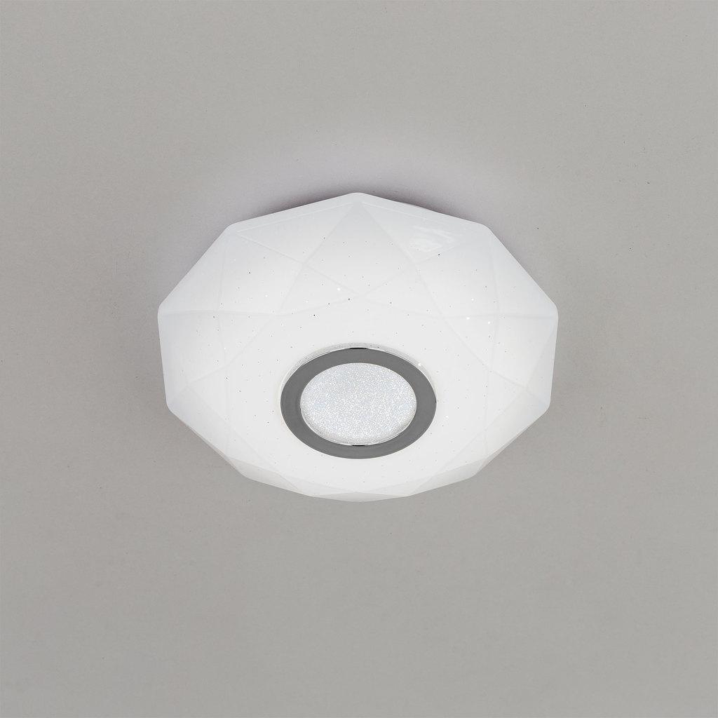 Потолочный светодиодный светильник Citilux Диамант CL71310, IP44, LED 12W 3000K 800lm, белый, хром, пластик - фото 3