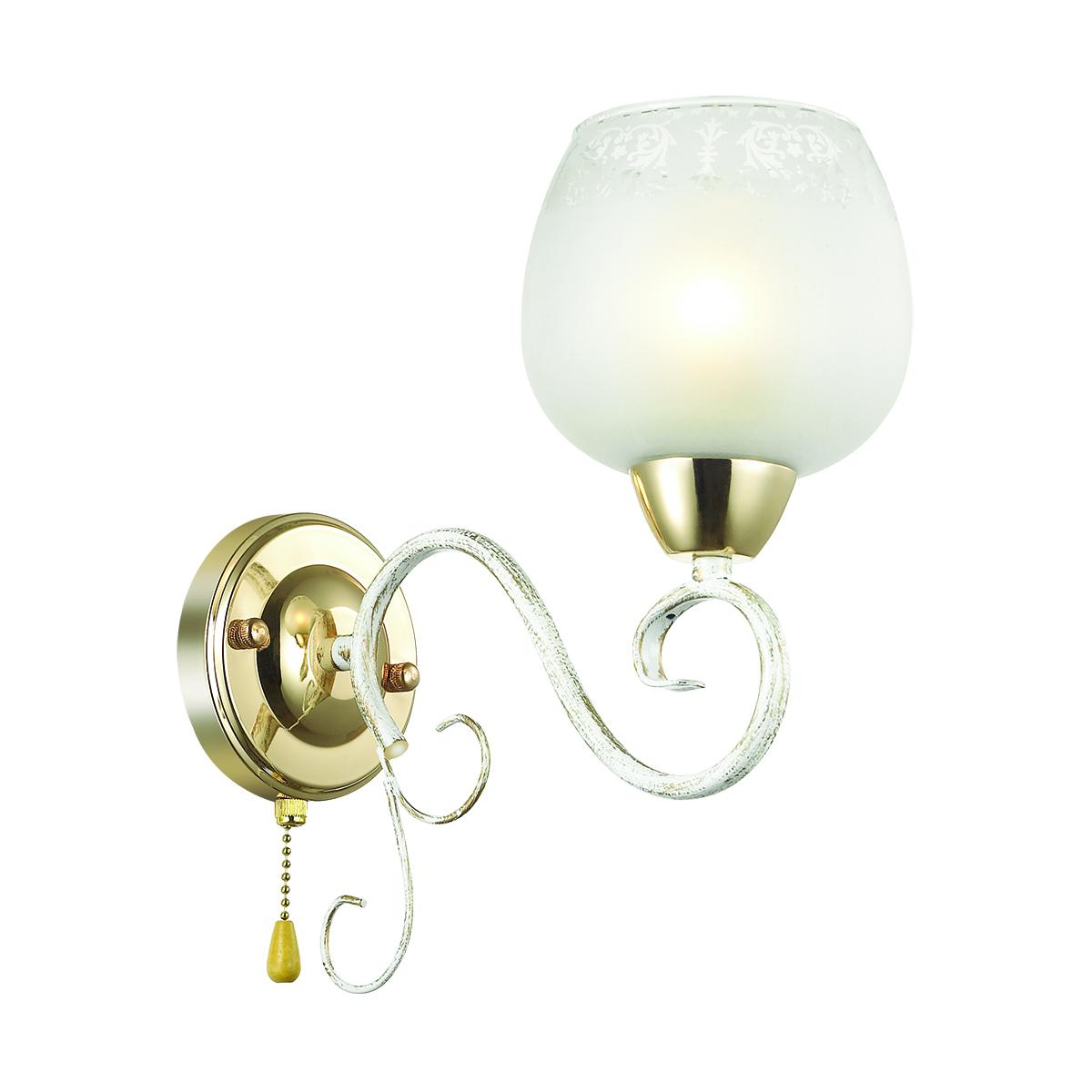Бра Lumion Biancopa 3505/1W, 1xE27x60W, белый с золотой патиной, золото, матовый, металл, стекло - фото 1
