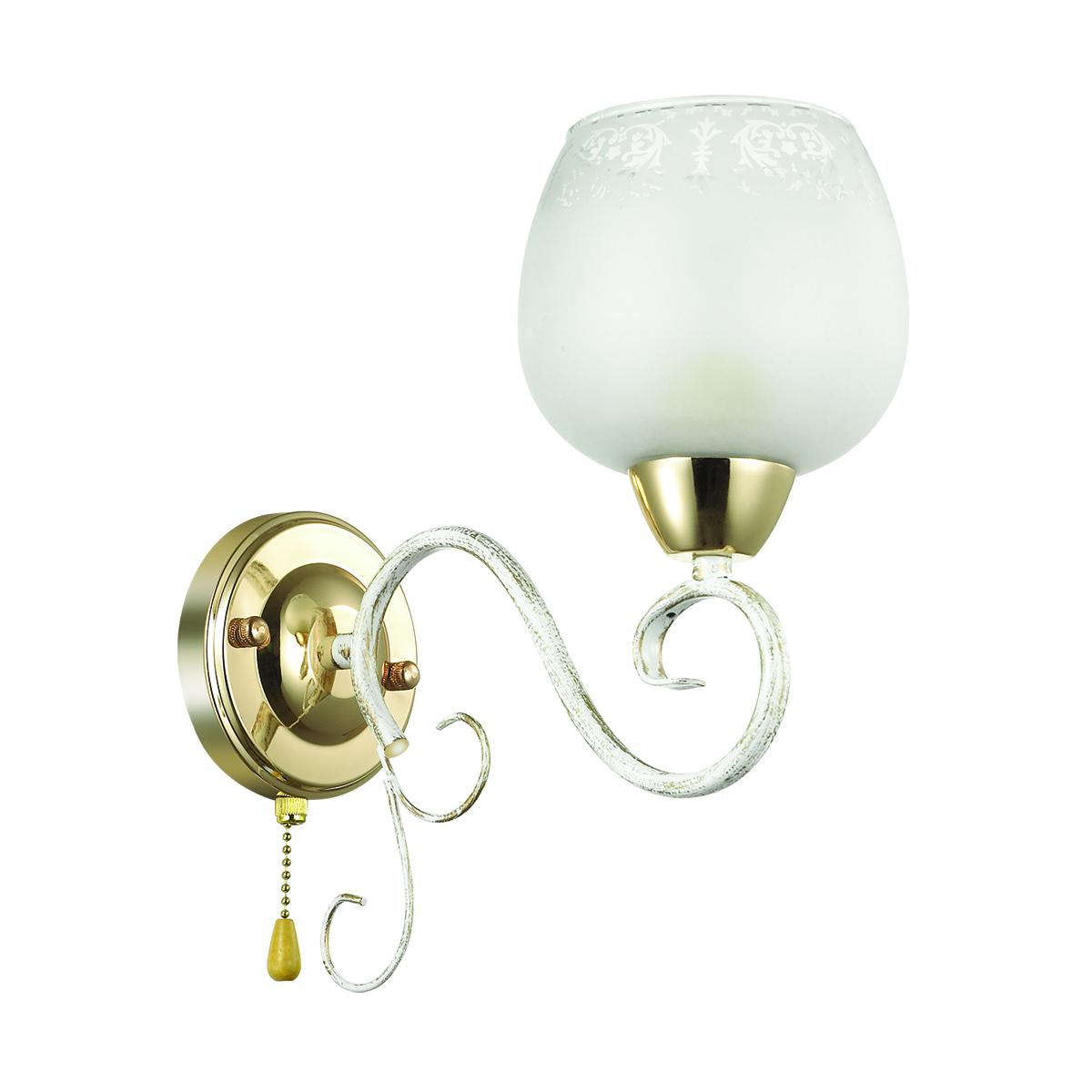 Бра Lumion Biancopa 3505/1W, 1xE27x60W, белый с золотой патиной, золото, матовый, металл, стекло - фото 2