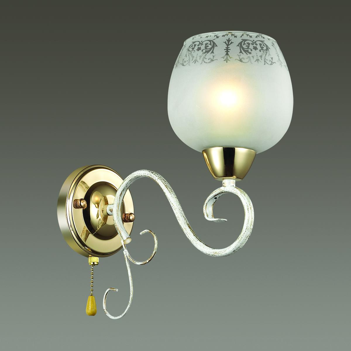 Бра Lumion Biancopa 3505/1W, 1xE27x60W, белый с золотой патиной, золото, матовый, металл, стекло - фото 3