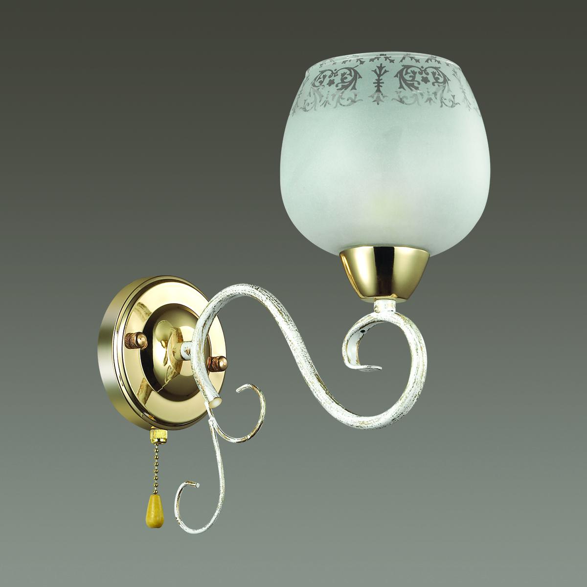 Бра Lumion Biancopa 3505/1W, 1xE27x60W, белый с золотой патиной, золото, матовый, металл, стекло - фото 4