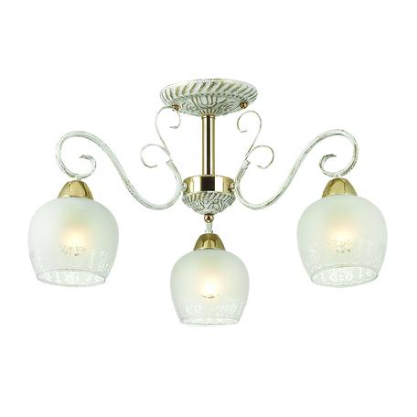 Потолочная люстра Lumion Biancopa 3505/3C, 3xE27x60W, белый с золотой патиной, золото, матовый, металл, стекло