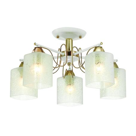 Потолочная люстра Lumion Comfi Opicus 3508/5C, 5xE27x60W, золото, белый, металл, стекло