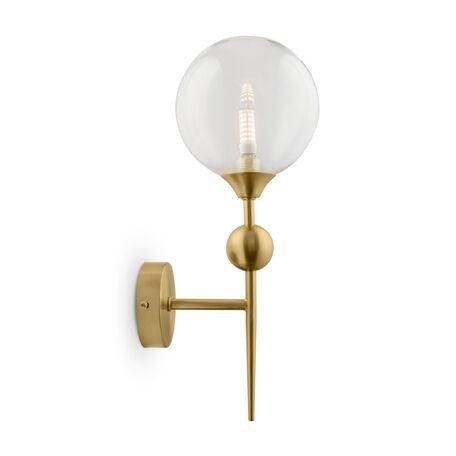 Бра Freya Maddison FR5115WL-01BZ, 1xG9x5W, матовое золото, прозрачный, металл, стекло