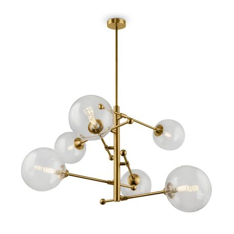 Люстра с регулировкой направления света на составной штанге Freya Maddison FR5115PL-06BZ, 6xG9x5W, матовое золото, прозрачный, металл, стекло