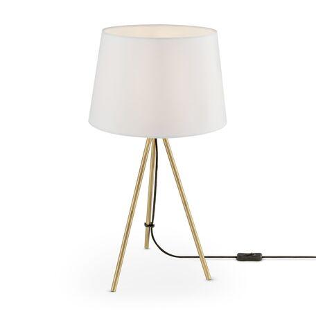 Настольная лампа Freya Sandy FR5118TL-01BS, 1xE27x40W, матовое золото, белый, металл, текстиль
