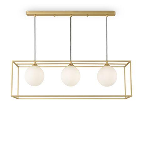 Подвесной светильник Freya Trinity FR5113PL-03G, 3xG9x25W, матовое золото, матовое золото с белым, белый с матовым золотом, металл, металл со стеклом, стекло с металлом