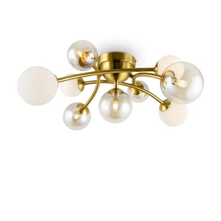Потолочная люстра Freya Bethany FR5116CL-09BS, 9xG9x28W, матовое золото, янтарь, металл, стекло