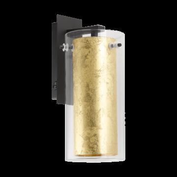 Бра Eglo Pinto Gold 97839, 1xE27x40W, черный, матовое золото, прозрачный, металл, стекло