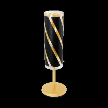 Настольная лампа Eglo Pinto Nero 1 97769, 1xE27x60W, матовое золото, черный, металл, стекло