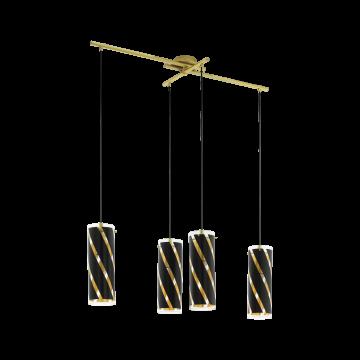 Подвесной светильник Eglo Pinto Nero 1 97768, 4xE27x60W, матовое золото, черный, металл, стекло