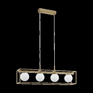 Подвесной светильник Eglo Vallaspra 97793, 4xE14x40W, матовое золото, металл, металл со стеклом
