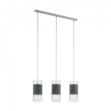 Подвесной светильник Eglo Norumbega 97955, 3xE27x60W, белый, серый, металл, металл с текстилем, текстиль с металлом