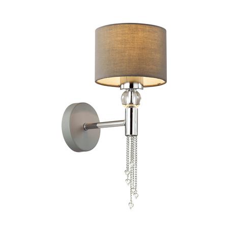 Бра Lumion Neoclassi Santiago 4515/1W, 1xE27x60W, хром, серый, металл со стеклом, текстиль