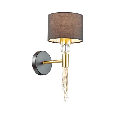 Бра Lumion Neoclassi Santiago 4516/1W, 1xE27x60W, матовое золото, черный, металл со стеклом, текстиль