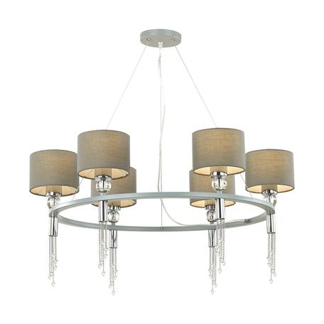 Подвесная люстра Lumion Neoclassi Santiago 4515/6, 6xE27x60W, серебро, серый, хром, металл со стеклом, текстиль