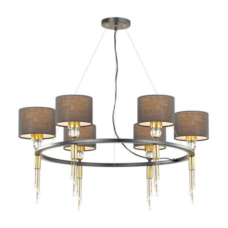 Подвесная люстра Lumion Neoclassi Santiago 4516/6, 6xE27x60W, матовое золото, черный, металл со стеклом, текстиль