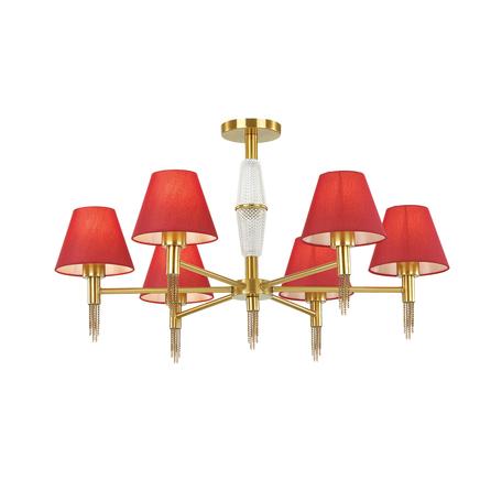 Потолочная люстра Lumion Neoclassi Vanessa 4514/6C, 6xE27x60W, золото, красный, металл, текстиль