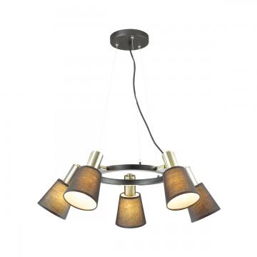 Подвесная люстра с регулировкой направления света Lumion 3638/5, черный, бронза, металл, текстиль