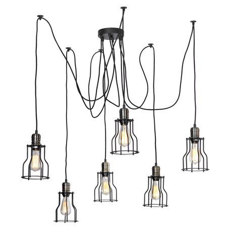Люстра-паук Lussole Loft Shirley LSP-9310, IP21, 6xE27x60W, черный, бронза, металл