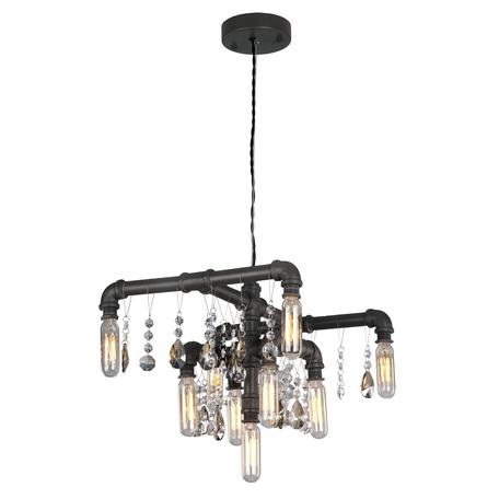 Подвесная люстра Lussole Loft Jamestown LSP-9379, IP21, 9xE14x40W, коричневый, прозрачный, металл, хрусталь