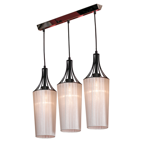 Подвесной светильник Lussole Loft Riardo lsn-5406-03, IP21, 3xE27x60W, черный, белый, металл, текстиль - миниатюра 1