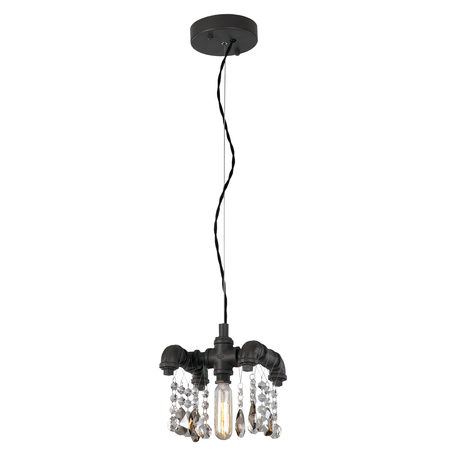 Подвесной светильник Lussole Loft Jamestown LSP-9371, IP21, 1xE14x40W, коричневый, прозрачный, металл, хрусталь