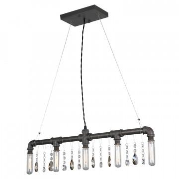 Подвесной светильник Lussole Loft Jamestown LSP-9375, IP21, 5xE14x40W, коричневый, прозрачный, металл, хрусталь