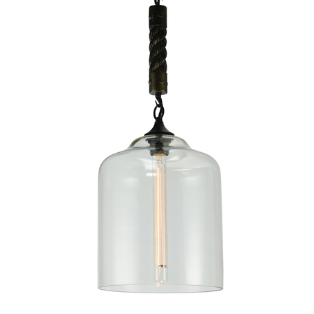 Подвесной светильник Lussole Loft Dix Hills LSP-9668, IP21, 1xE27x60W, черный, прозрачный, канат, металл, стекло - миниатюра 1