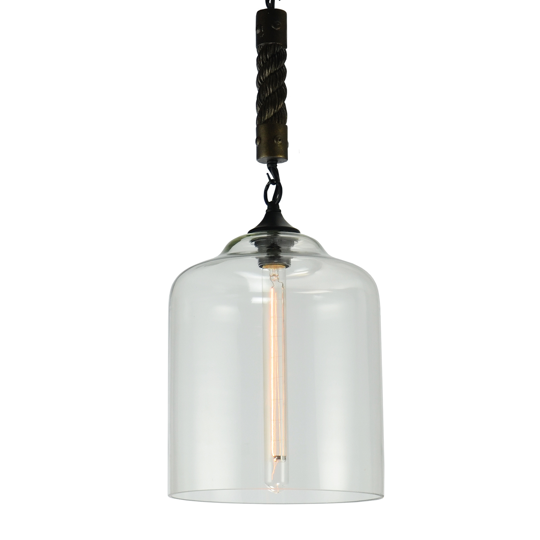 Подвесной светильник Lussole Loft Dix Hills LSP-9668, IP21, 1xE27x60W, черный, прозрачный, канат, металл, стекло - фото 1
