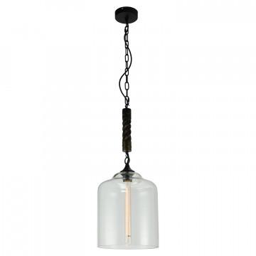 Подвесной светильник Lussole Loft Dix Hills LSP-9668, IP21, 1xE27x60W, черный, прозрачный, канат, металл, стекло - миниатюра 2