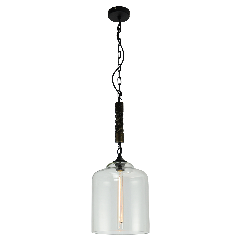Подвесной светильник Lussole Loft Dix Hills LSP-9668, IP21, 1xE27x60W, черный, прозрачный, канат, металл, стекло - фото 2