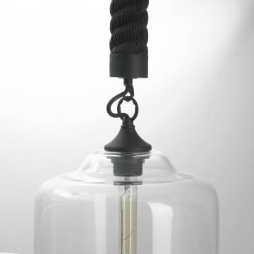 Подвесной светильник Lussole Loft Dix Hills LSP-9668, IP21, 1xE27x60W, черный, прозрачный, канат, металл, стекло - миниатюра 3