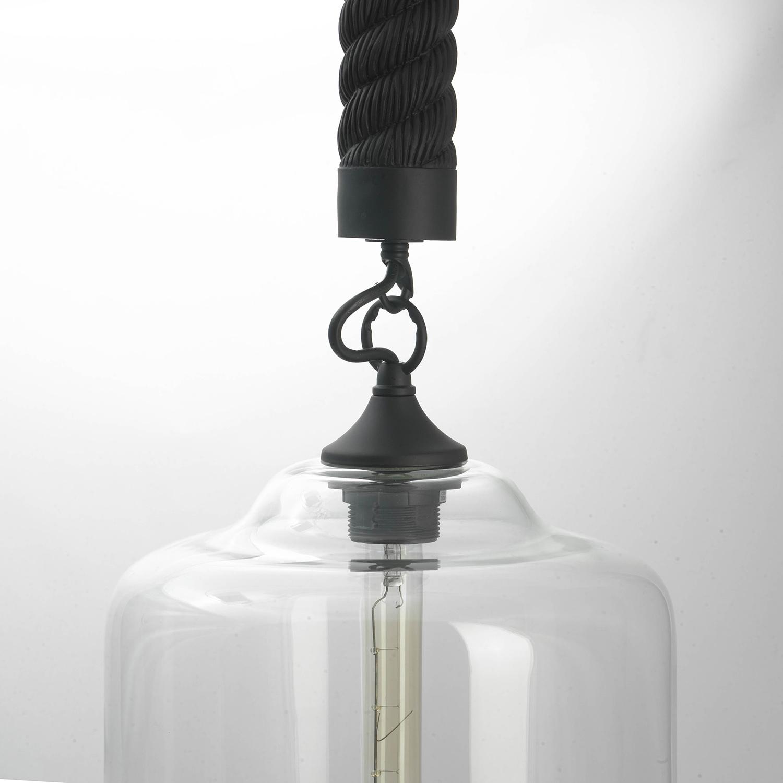 Подвесной светильник Lussole Loft Dix Hills LSP-9668, IP21, 1xE27x60W, черный, прозрачный, канат, металл, стекло - фото 3