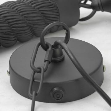 Подвесной светильник Lussole Loft Dix Hills LSP-9668, IP21, 1xE27x60W, черный, прозрачный, канат, металл, стекло - миниатюра 6