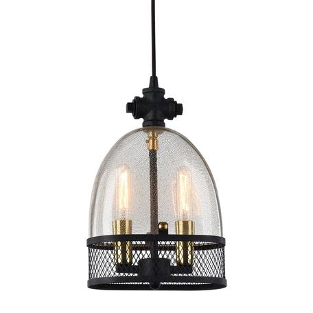 Подвесной светильник Lussole Loft Brighamton LSP-9675, IP21, 2xE14x40W, черный, прозрачный, металл, металл со стеклом