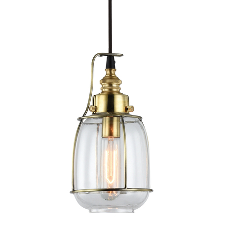 Подвесной светильник Lussole Loft Brighamton LSP-9677, IP21, 1xE14x40W, черный, прозрачный, металл, стекло