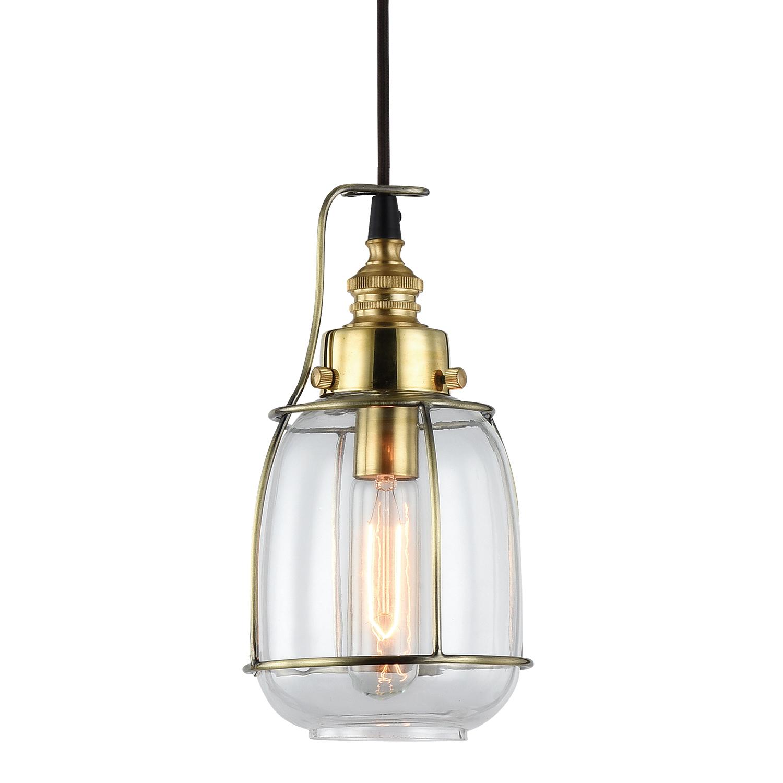Подвесной светильник Lussole Loft Brighamton LSP-9677, IP21, 1xE14x40W, черный, прозрачный, металл, стекло - фото 1