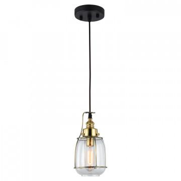 Подвесной светильник Lussole Loft Brighamton LSP-9677, IP21, 1xE14x40W, черный, прозрачный, металл, стекло - миниатюра 2