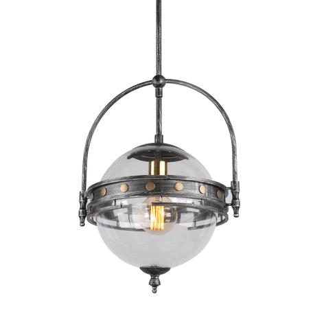 Подвесной светильник Lussole Loft Yonkers LSP-9681, IP21, 1xE27x60W, серый, прозрачный, металл, металл со стеклом/пластиком