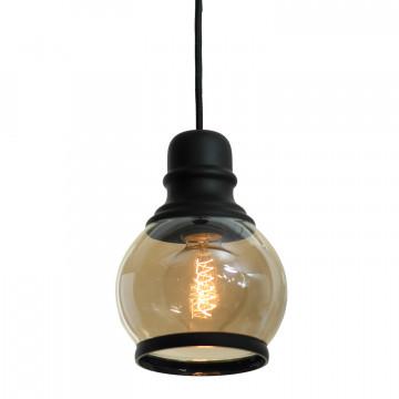 Подвесной светильник Lussole Loft Tonawanda LSP-9689, IP21, 1xE27x60W, черный, янтарь, металл, стекло