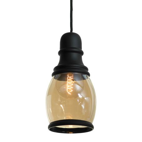 Подвесной светильник Lussole Loft Tonawanda LSP-9690, IP21, 1xE27x60W, черный, янтарь, металл, стекло
