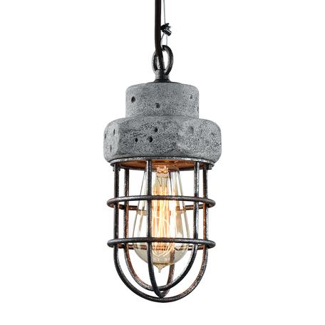 Подвесной светильник Lussole Loft Commack LSP-9691, IP21, 1xE27x60W, серый, металл, бетон - миниатюра 1