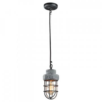 Подвесной светильник Lussole Loft Commack LSP-9691, IP21, 1xE27x60W, серый, металл, бетон - миниатюра 2