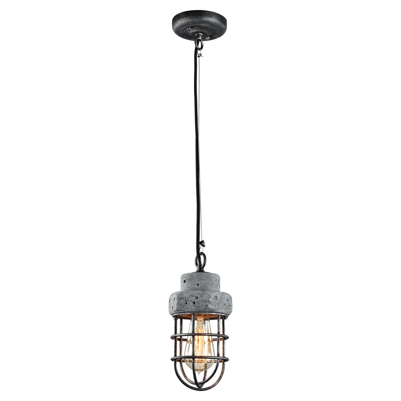 Подвесной светильник Lussole Loft Commack LSP-9691, IP21, 1xE27x60W, серый, металл, бетон - фото 2