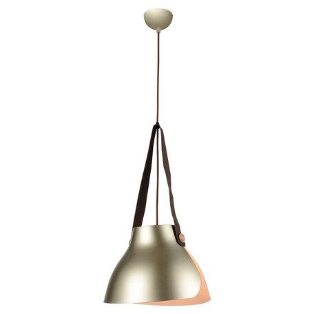 Подвесной светильник Lussole Loft Huntington LSP-9843, IP21, 1xE27x60W, коричневый, бежевый, кожзам, металл