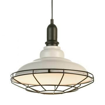 Подвесной светильник Lussole Loft Binghamton LSP-9848, IP21, 1xE27x60W, белый, черно-белый, металл, металл со стеклом