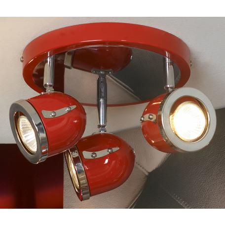 Потолочная люстра с регулировкой направления света Lussole Loft Tivoli LSN-3107-03, IP21, 3xGU10x50W, красный, металл