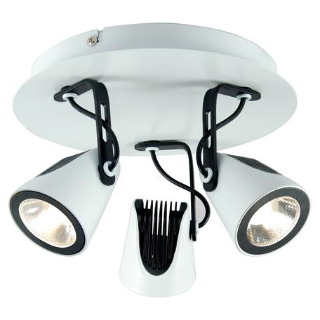 Потолочная светодиодная люстра с регулировкой направления света Lussole Loft Merano LSN-4101-03, IP21, LED 15W 4100K, белый, черно-белый, металл